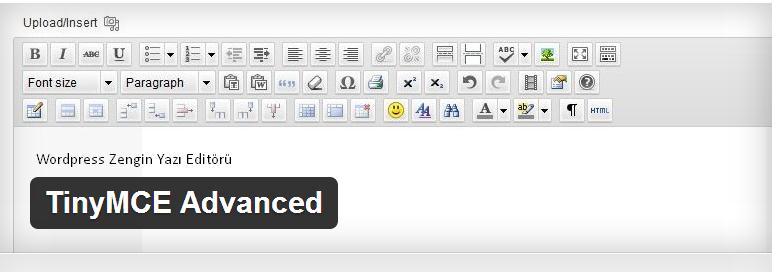 Wordpress Zengin Yazı Editörü